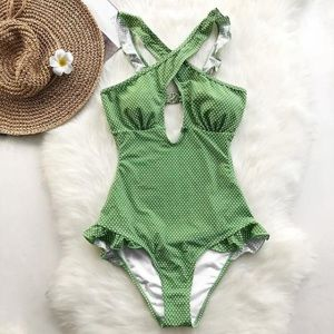 NWT CupShe Green Polka Dot One Piece Swimsuit